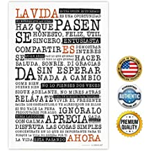 Zendori ART La Vida Es Ahora (Life is Now Spanish Version) Life Manifesto Inspirational Wall Art - Made in USA (Poster on Canvas Paper, 12 x 18)