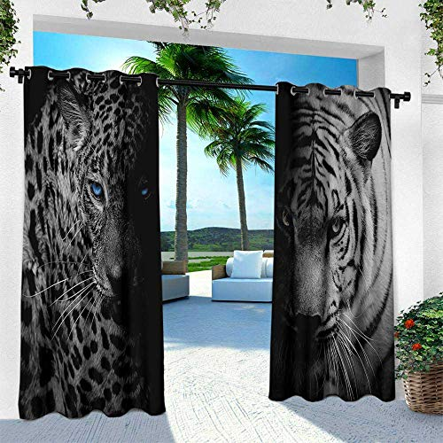 (Hengshu Black and White, Patio Curtains,Leopards with Blue Eyes Aggressive Powerful Wildcat Profile Print, W96 x L96 Inch, Black White Blue)