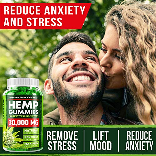 61AsHDjln8L - Hemp Gummies - 30000 MG - Premium Stress & Anxiety Relief - Made in USA - 100% Natural & Safe Oil Gummies - Mood Enhancer & Immune Support - Rich in Vitamins B, E & Omega 3 - 90 PCS