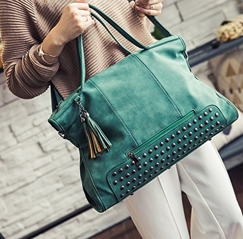 Hobo Tote Embossed Handbag pu Purse Leather Large Womens Green Designer Fashion Eq68FH6wWC