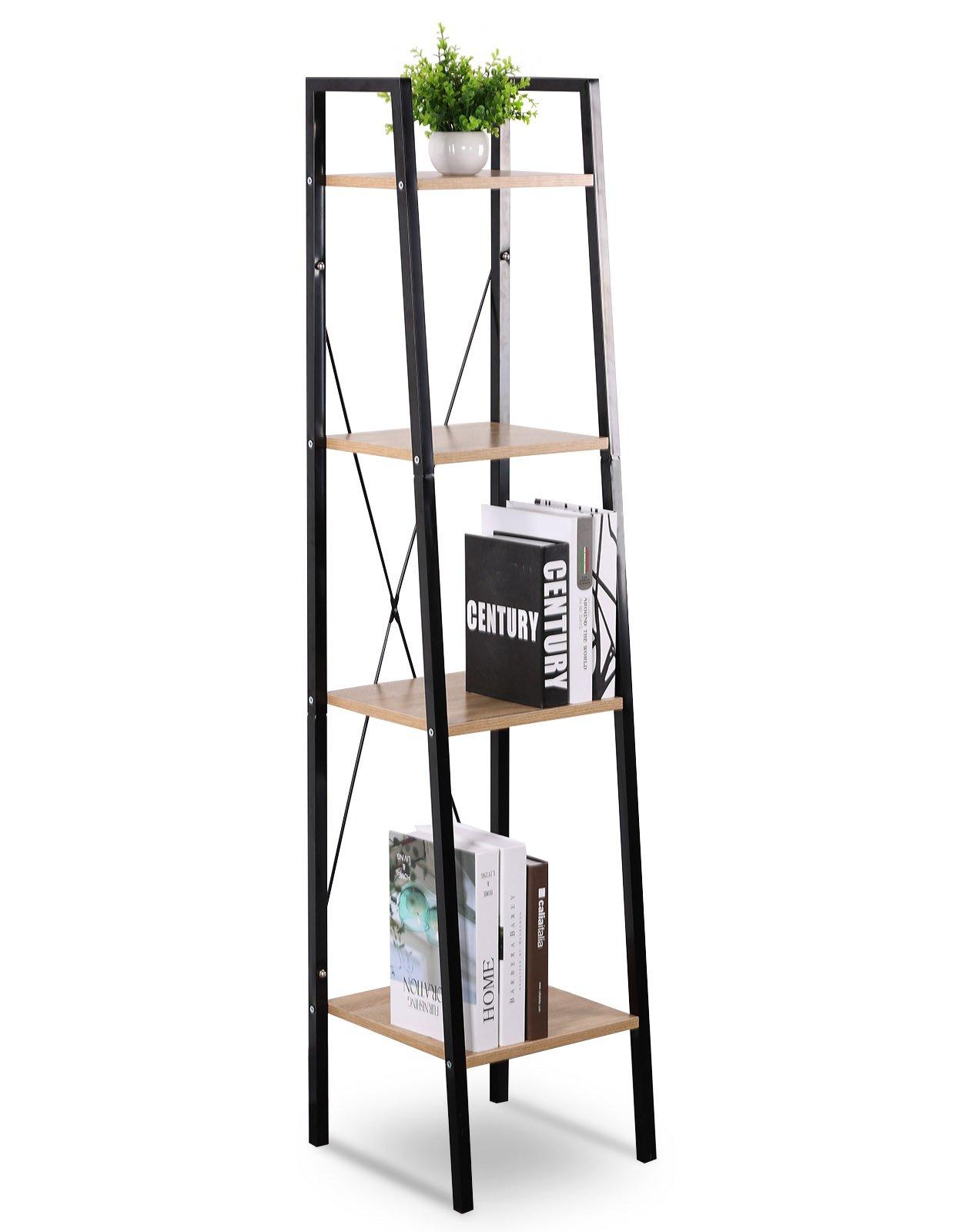 WOLTU Corner Shelf Unit Heavy Duty Wood with 4 Shelf Shelving