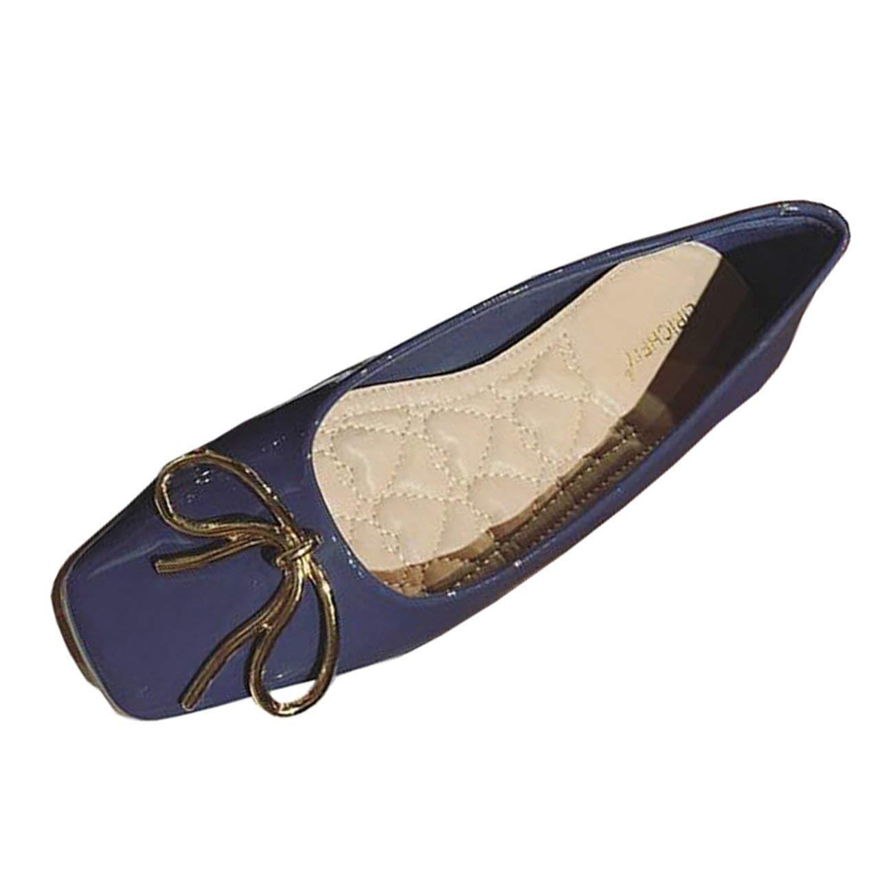 Fuxitoggo Frauen Square-Toe Wohnung Slip-on Bowknot Ballerinas (Farbe   Blau Größe   5 UK)
