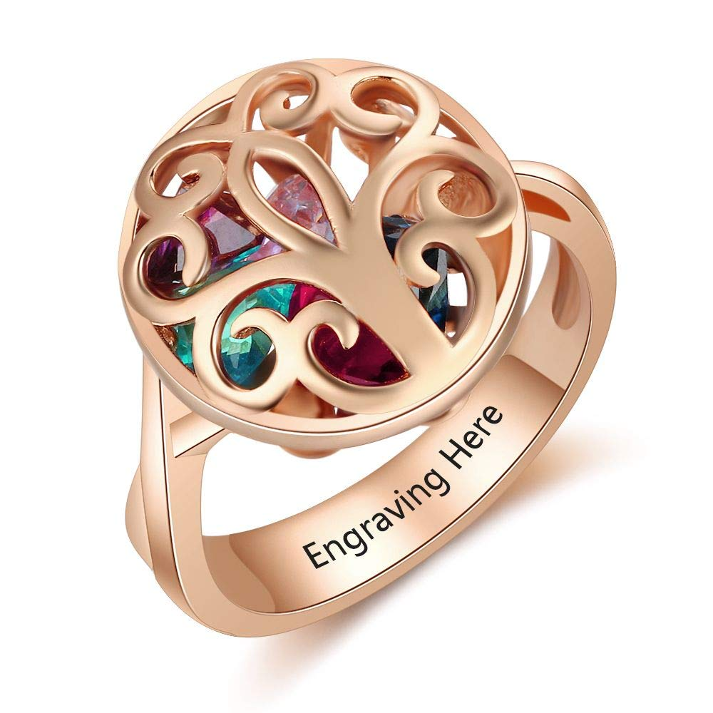Lam Hub Fong Personalized Family Tree Encased Cage Simulated Birthstone Rings for Mothers Family Rings Rose Gold (9)