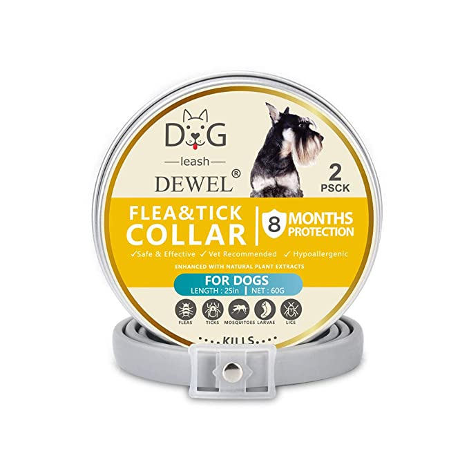 Dewel 2pcs Collar Antiparasitos Perros/Gatos Contra Pulgas,Garrapatas y Mosquitos,Tamaño Ajustable e Impermeable para Mascota Pequeño Mediano Grandes: ...