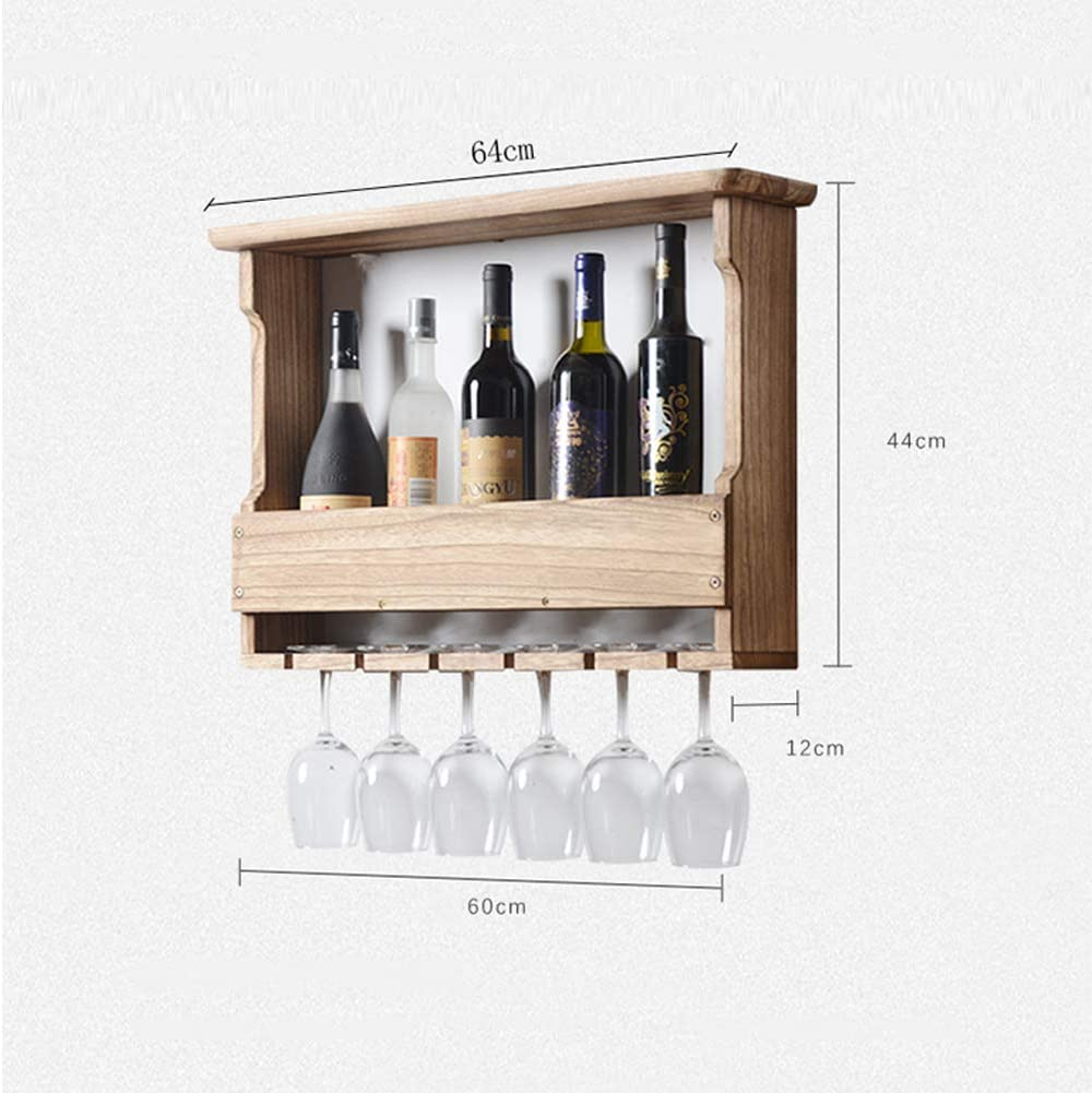 Wall Mounted Wine Rack,Simplicity Shelf Organizer with 6 Wine Glasses Storage,Wooden Wine Bottle Holder for Living Room/Kitchen/Wine Cellar Light Color Light Color