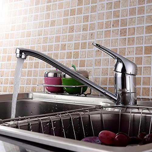 TAPCET Kitchen Faucet, Single Lever Swivel Spout Mixer Tap Kitchen Sink Faucet, with US Standard Fittings with Hot and Cold Water, Polished Chrome and Brass Body (Modern Steel Picture Brass Polished)