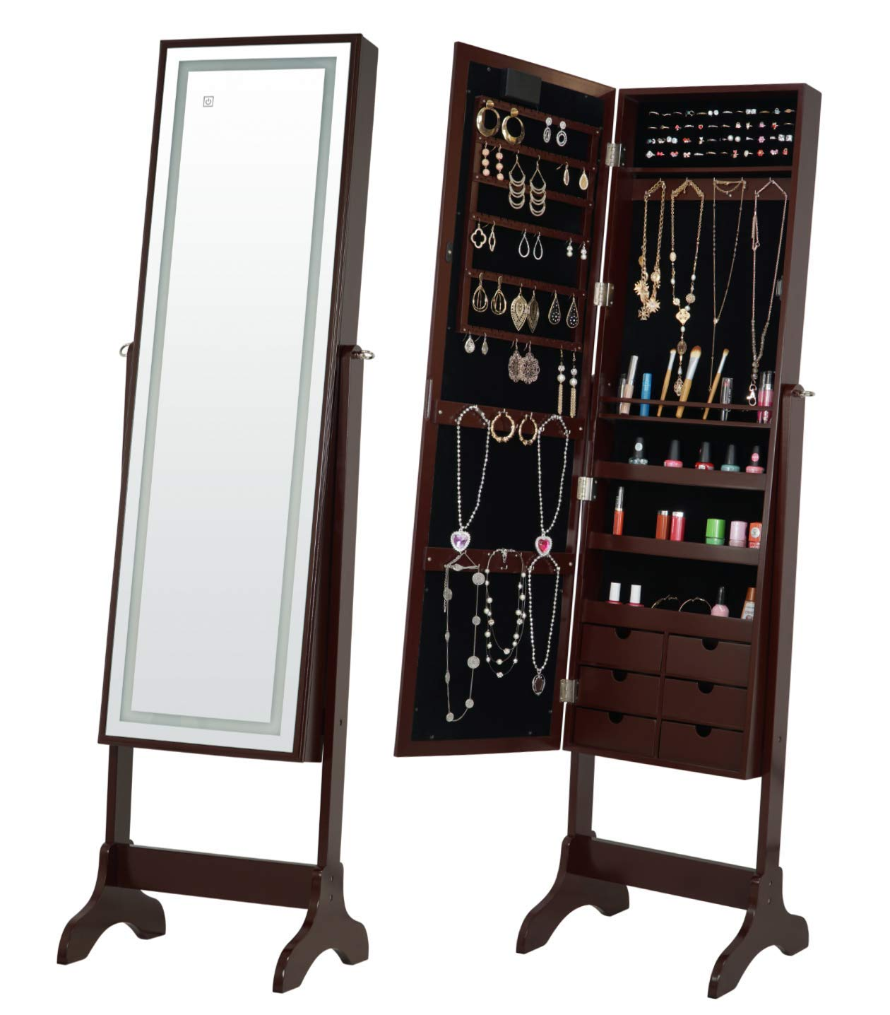Fineboard FB-JC06-BN LED Jewelry Cabinet Organizer with Mirror & 6 Small Drawers, Brown
