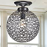 Cheap Bertha Antique Bronze Flush Mount Chandelier with Iron and Handicraft Shade