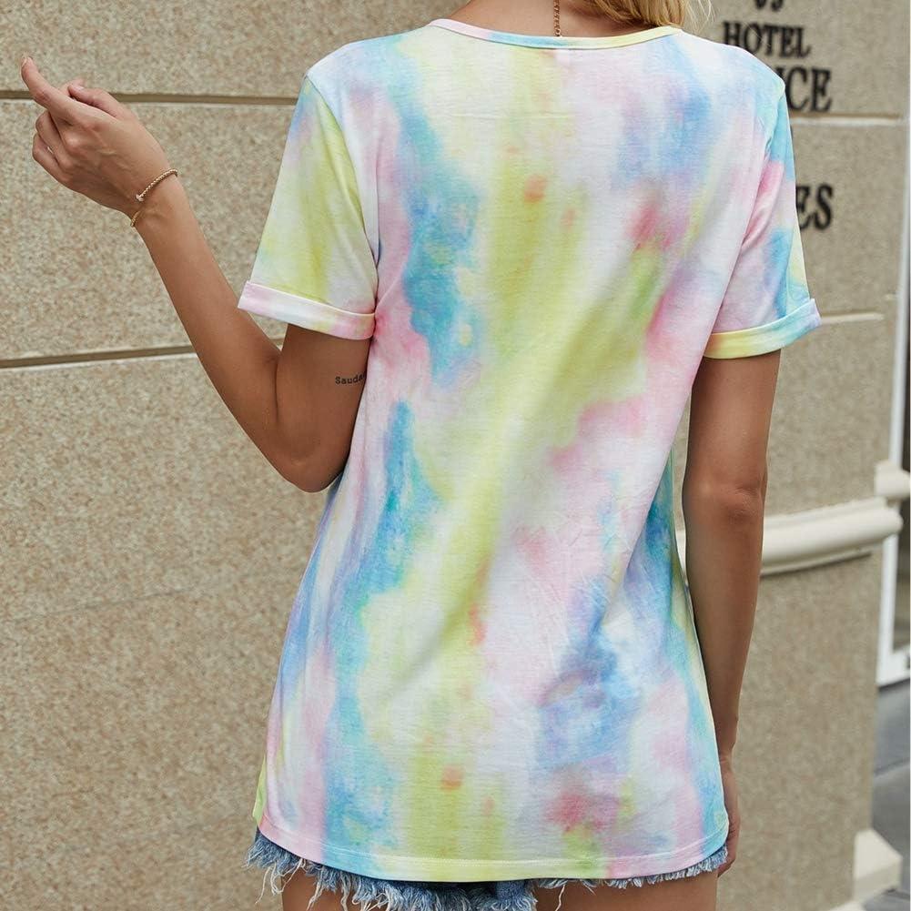Camisetas para Mujer Tie-Dye Casual Camiseta Manga Corta ...