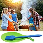 YuCool 5 Pack Silicone Basting Brush, Pastry&Basting Oil Brush with 2 Rest for BBQ,Turkey Baster,Cake,Barbecue Utensil,Grilling,Marinating-5 Colors 14 High Quality:Hygienic solid silicone with Steel Support inside, will not melt,warp,discolor,or shrink like plastic or wooden brushes. Package:You will get 5 silicone brush and 2 silicone spoon rest,It's very convenient for you to replace,elegant design for kitchen work. Color and Dimension:5 Colors (Black,Blue,Red,Green,Orange),Brush size:8.2in*1.3in;Spoon Rest size:7.9in*3.8in. These beautiful colors will let your kitchen light up soon,keep a colorful and nice kitchen.