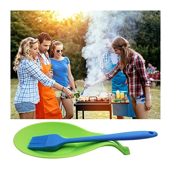 YuCool 5 Pack Silicone Basting Brush, Pastry&Basting Oil Brush with 2 Rest for BBQ,Turkey Baster,Cake,Barbecue Utensil,Grilling,Marinating-5 Colors 6 High Quality:Hygienic solid silicone with Steel Support inside, will not melt,warp,discolor,or shrink like plastic or wooden brushes. Package:You will get 5 silicone brush and 2 silicone spoon rest,It's very convenient for you to replace,elegant design for kitchen work. Color and Dimension:5 Colors (Black,Blue,Red,Green,Orange),Brush size:8.2in*1.3in;Spoon Rest size:7.9in*3.8in. These beautiful colors will let your kitchen light up soon,keep a colorful and nice kitchen.