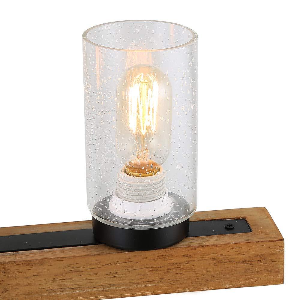 Three Lights Anmytek Metal Wood and Glass Chandelier Pendant Light Retro Rustic Loft Antique Lamp Edison Vintage Pipe Sconce Decorative Light Fixtures and Ceiling Light Luminaire