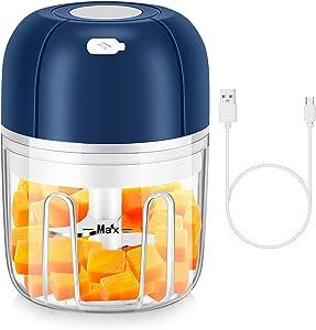 Electric Garlic Chopper,250 ML Mini Food Processor,Mini Food Chopper with USB Charging for Slap Chop Onion Ginger Vegetable Pepper Spice Meat, Baby Food, Seasoning,BPA Free