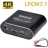Iseebiz HDMI音声分離器 4K・HDR対応 7.1ch対応 DTS&Dolby5.1/LPCM7.1対応 ARC機能 USB給電式 3.5mm―2RCA変換ケーブル付