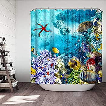 VividHome Underwater Shower Curtains Wonderful and Beautiful Underwater Corals and Tropical Fish Animal Fabric Bathroom Shower Curtain 3D Shower Curtain with 12 Hooks 72 W x 72 L Inches
