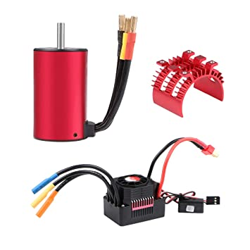 Innovateking 3660 3300KV Brushless Motor with 60A ESC Electronic Speed  Controller and Aluminum Heat Sink Waterproof Combo Set 3 175mm Shaft for  1/10