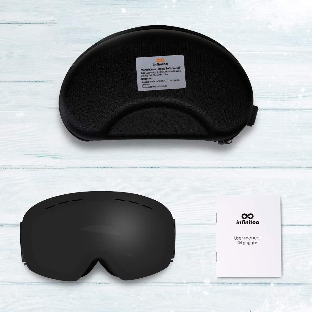 Maschera da Sci Snowboard per Uomo Donna e Giovent/ù Adulti infinitoo Occhiali da Sci Grand Angolo Antivento Anti Fog UV 400 con Custodia Stealth-JetBlack
