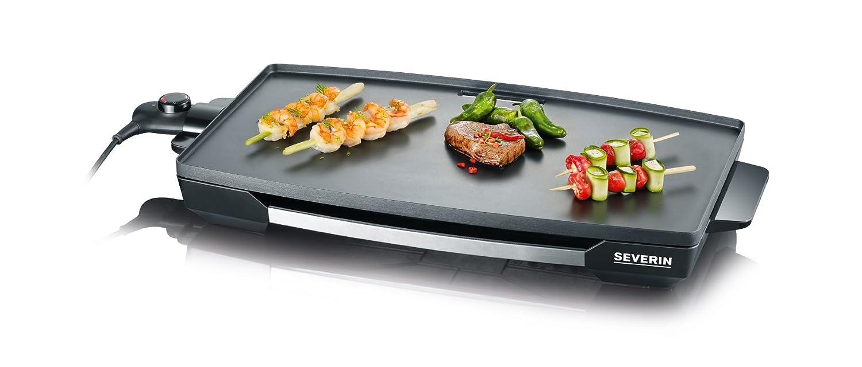 SEVERIN KG 2397 Barbacoa de Mesa y plancha XXL con revestimiento antiadherente, 2.200 W, color acero inoxidable y negro