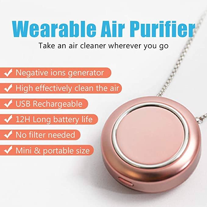 JYFATXEE Personal Air Purifier Around The Neck,Wearable ac Mini Air Purifier Necklace for Kids//Adults Mini Portable Air Purifier for Travel