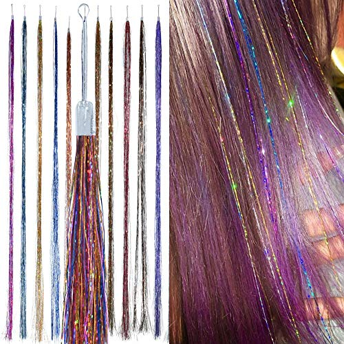 Holographic Hair Tinsel - by Hair Dazzle - Professional Fairy Strands - RAINBOW Color Glitter Hair Extensions For Girls - Heat Resistant & Tangle-proof, Long Lasting Women's Sparkle Hair Accessories