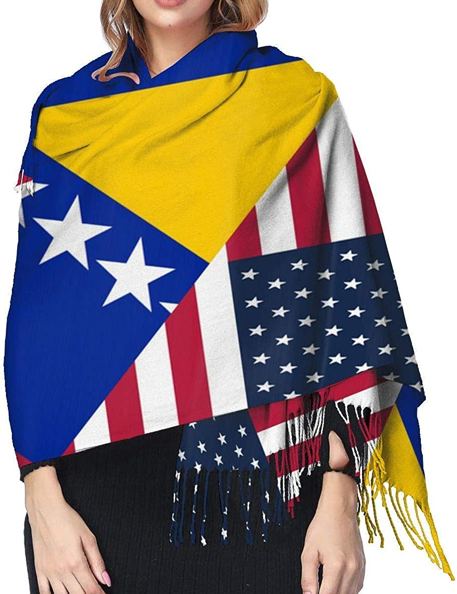 USA and Bosnia and Herzegovina Flag Cashmere Scarf Shawl Wraps Super Soft Warm Tassel Scarves For Women Office Worker Travel