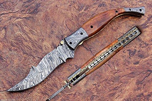 Damascus Knife Handmade Liner Lock Folding / Pocket Knife / OLIVE WOOD Handle Damascus Bolster VK0059