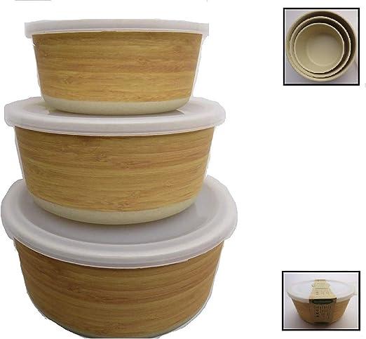 Tuper de Bambu - 3 Tupers de Fibra de Bambú Ecologicos - Material ...