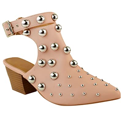 Womens Studded Buckle Ankle Strap Low Cuban Heel Western Boots Size