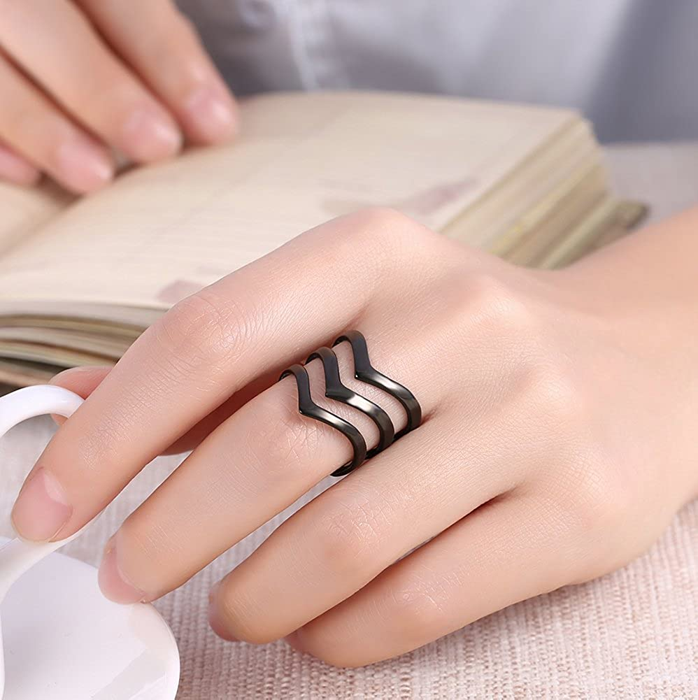 bae11e832 Amazon.com: 3 Layers Titanium Knuckle Ring for Women Fashion Cocktail Rose  Gold and Black Stacking Wedding Band: Jewelry