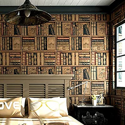 ZXT Simulation Bookshelf Wallpaper Live Background Wall Paper 3d Stereo American Style Country Retro Vintage Study Room TV European Style Wallpaper (Color : A)