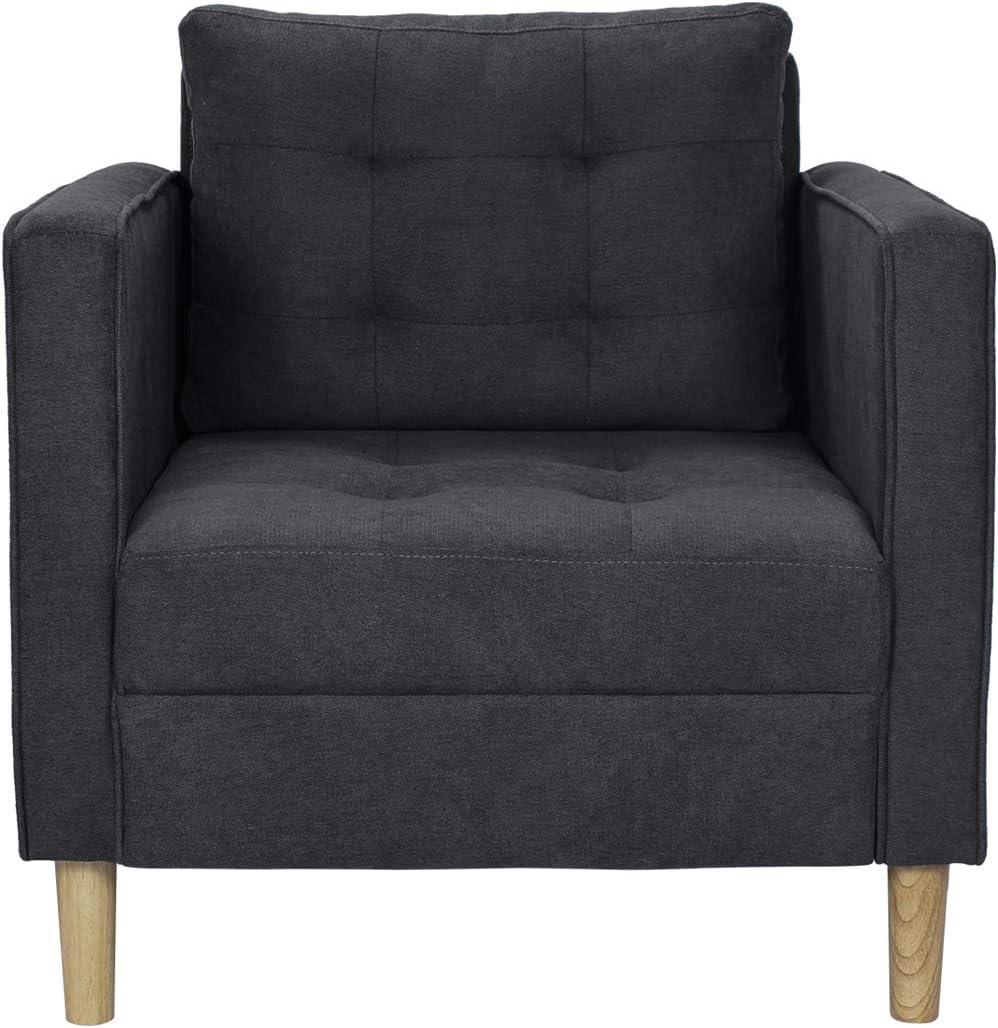 """AODAILIHB 30"""" Modern Soft Cloth Tufted Cushion Armrest Sofa Chair Small Space Configurable Couch (Dark Gray)"""