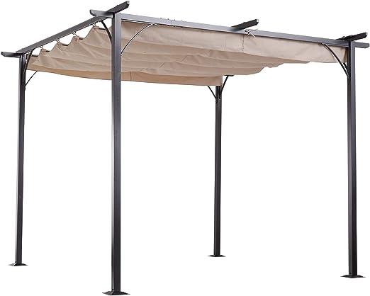 Outsunny - Toldo retráctil de acero para exteriores: Amazon.es: Jardín