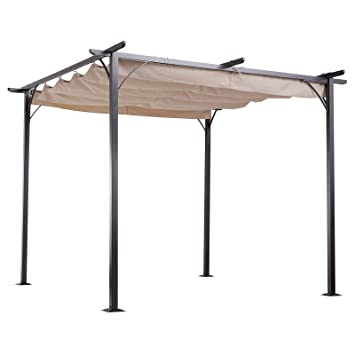 3c89620c03f2 Outsunny 3 X 3 Metal Pergola Gazebo Awning Retractable Canopy Outdoor  Garden Sun Shade Shelter Marquee