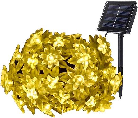 7M 50 LED Guirnalda Luces Solar,DINOWIN Exterior Cadena Luces Impermeable Guirnaldas Luminosas Decoración para Jardín, Terraza, Fiesta: Amazon.es: Iluminación