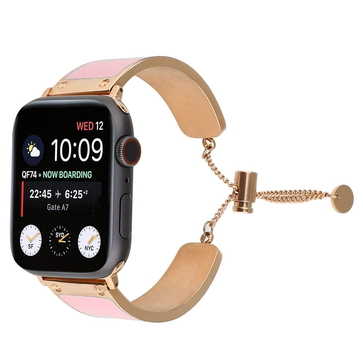 Juzzhou Compatible with Watch Band Apple Watch iWatch Series 1 2 3 4 Wriststrap Wrist Strap Guard Replacement Wristband Bracelet with Metal Adapter Buckle for Woman Girls Lady Boy Pink 38mm 40mm