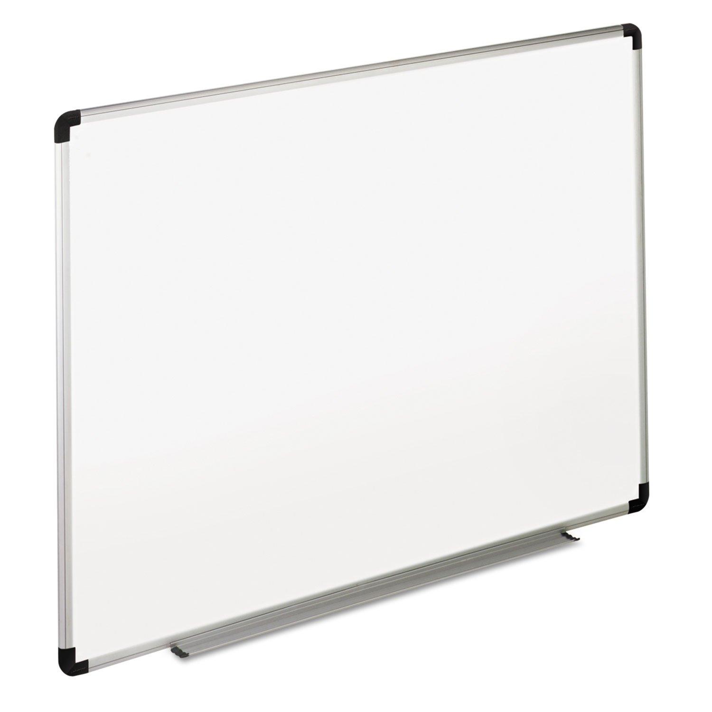 Universal 43723 Dry Erase Board, Melamine, 36 x 24, White, Black/Gray Aluminum/Plastic Frame