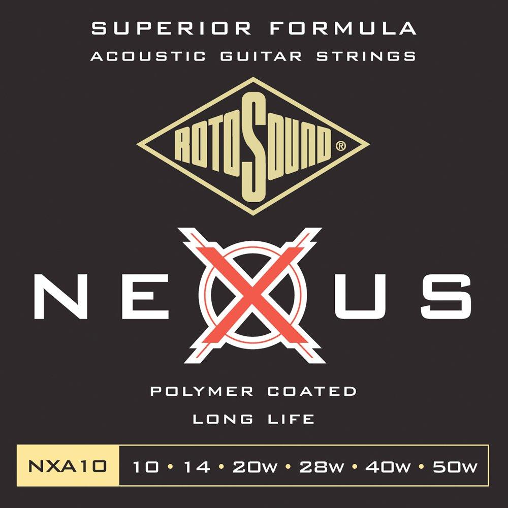 Rotosound CRS NXA10 Jeu de Cordes nexus fil/é en Bronze phosphoreux pour Guitare acoustique 10-14-20-28-40-50