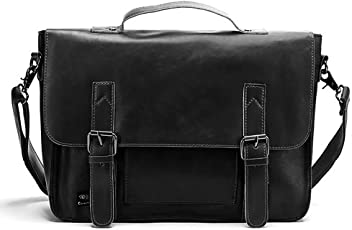 Winkine Vintage Leather Briefcase-Shoulder Messenger Bag-Laptop Tote (Black) 405d4ef8ae342