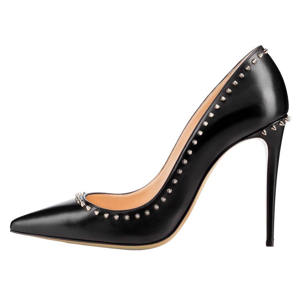EKS - Zapatos de tacón alto con remaches Mujer 35 EU|Negro - Schwarz-10cm-matt