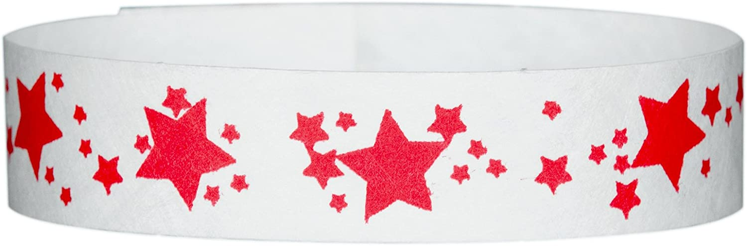 Wristband Giant 3/4 Tyvek Wristbands Star Pattern box 500 For Events (Blue)