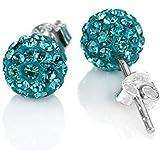 Zewar - Pendientes de cristal de Swarovski y plata 925 (10 mm), diseño de bola de discoteca, color azul