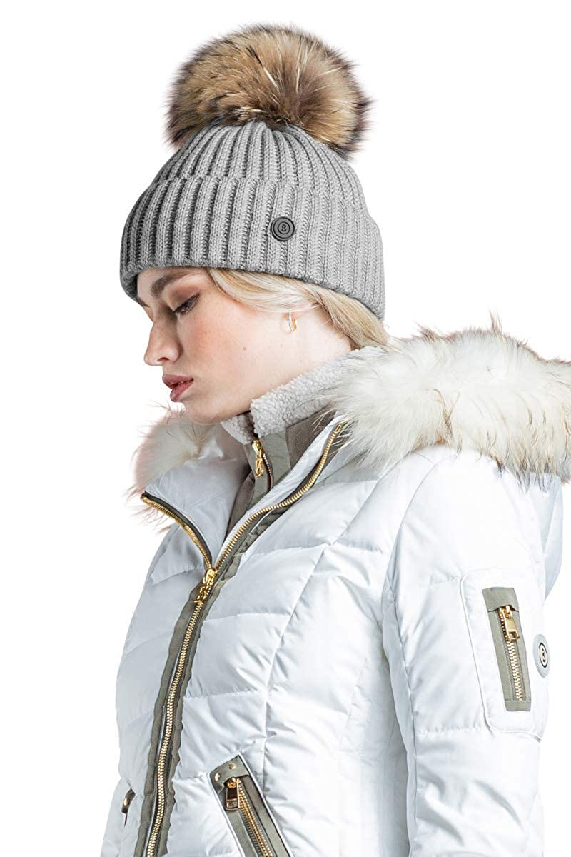 EM-EL Bogner Sport Leonie Ski Hat with Finnraccon Fur Pom (Blue Black) at  Amazon Women s Clothing store  aea1bbc15