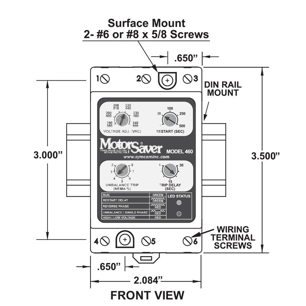 Symcom Motorsaver 3 Phase Voltage Monitor Model 460 L 190 480v Wiring Diagram Fixed Unbalance And Trip Delay Din Rail Mount Industrial Scientific