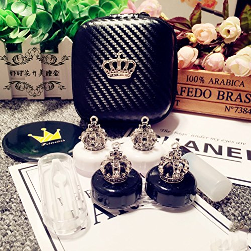 Mini Stylish Simple Contact Lens Hard Case Travel Kit with Mirror Bottle with Tweezers Container Holder-Cute Crown -White and Black with Stick-2 Pack by Oliver