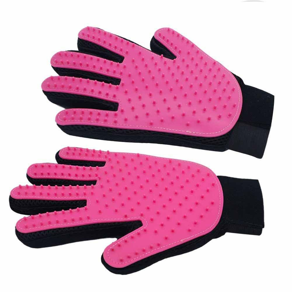2 Pack Pet Dog & Cat Grooming Glove, Pet Grooming Gloves Brush for Long & Short Fur + Pet Hair Remover Brush+Furniture Clean Tool &Gentle Deshedding Brush (1 Pair Left and Right Hand), Pink CHANG