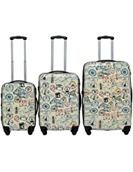 Rivolite World Stamps 3-piece Expandable Set Rivolite World Stamps 3-piece Expandable Hardside Spinner Luggage...