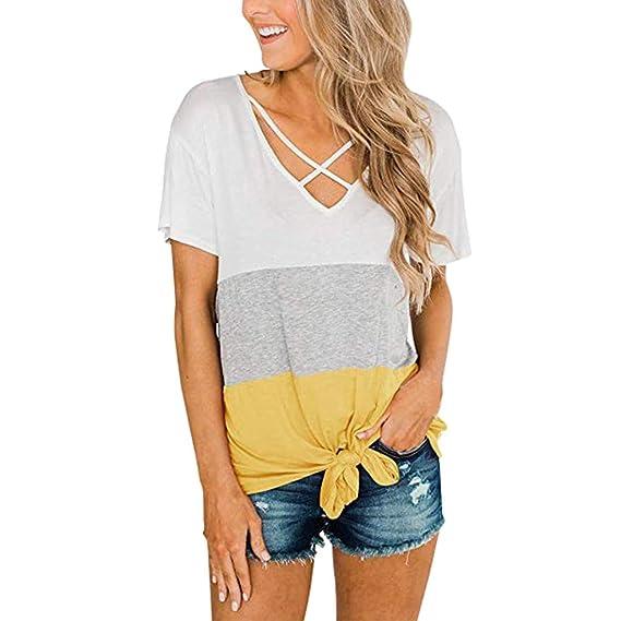 Darringls_camisetas para Mujer,Ropa de Mujer Hombro sin Tirantes Moda Camiseta Tops de Rayas de