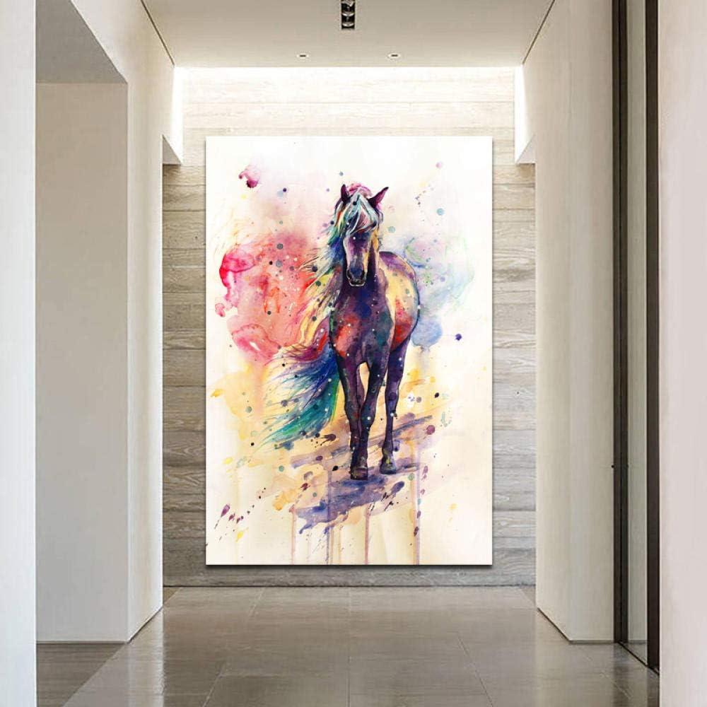 Pintura al óleo de bricolaje sobre lienzo con madera (Perro) SELFILMENTE Arte de la pared Carteles Acuarela Caballo Arte animal Cuadros decorativos para la sala Lienzo Impreso Cuadros Decoración-4