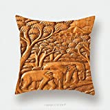Custom Satin Pillowcase Protector Carved Thai Elephant On The Wood Wall 102425041 Pillow Case Covers Decorative