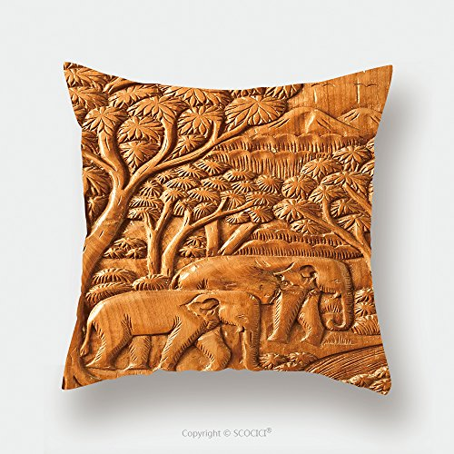 Custom Satin Pillowcase Protector Carved Thai Elephant On The Wood Wall 102425041 Pillow Case Covers Decorative by chaoran